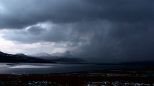 spring snowstorm over the Kyle of Tongue