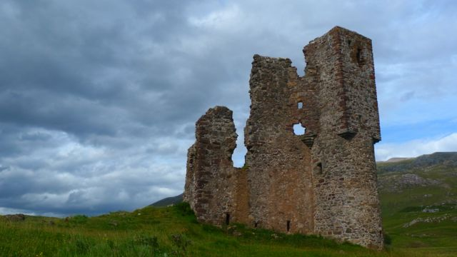 Ardvreck castle remains on Loch Assynt
