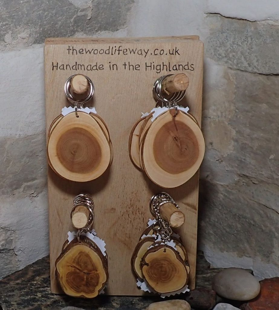 Keyring Display. All materials made from trees grown at Dunrobin Castle